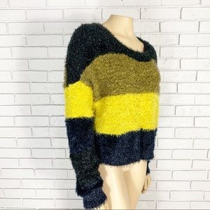 Urban Outfitters Fuzzy Glitter Striped Sweater